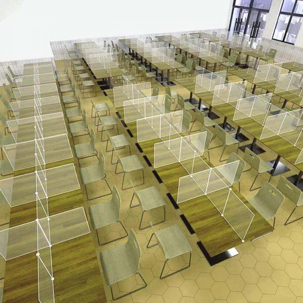 Mamparas de metacrilato modulares para escuelas y centros educativos.