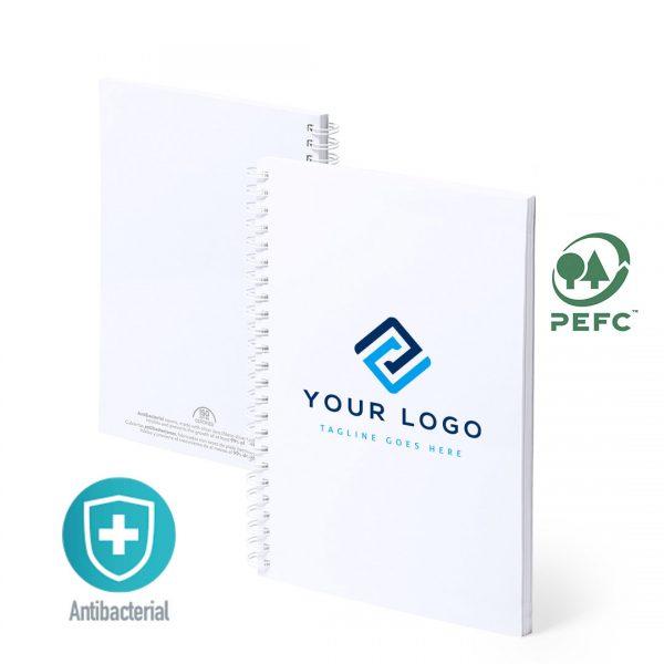 Libreta antibacteriana personalizable con logo grupo zona