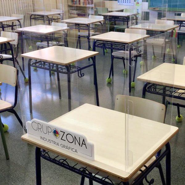 Mamparas para colegios y escuelas. Protección anticontagios para pupitres, mesas y comedores
